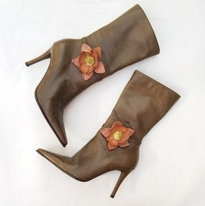 DIBA OLIVE GREEN ANABELL POINTED TOE BOOTS
